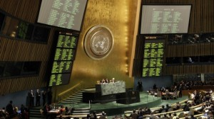 UN General Assembly votes 138-9, with 41 abstentions, in favor of nonmember status for 'Palestine'