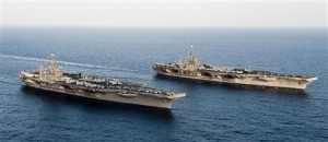 US Navy handout photo of the aircraft carriers Lincoln and Stennis